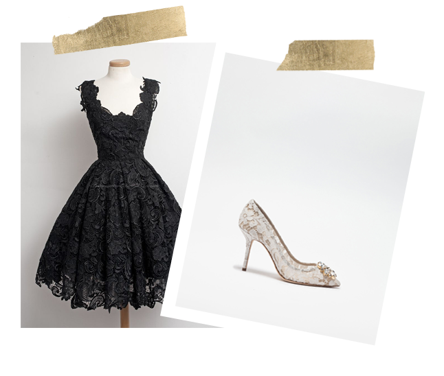 Black lace dress and lace pump collage