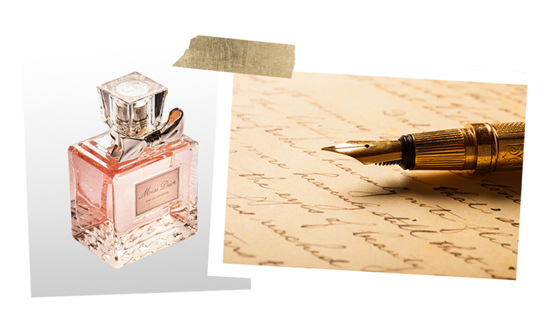 Perfume and vintage letter